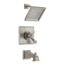 Delta - Dryden TempAssure 17T Series Thermostatic Tub and Shower Trim - Delta T17T451-SS Dryden TempAssure 17T Series Thermostatic Tub and Shower Trim with Volume Control, Raincan Showerhead and Diverter Tub Spout in Stainless.