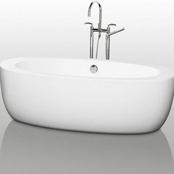 "Wyndham Collection - Wyndham Collection WCOBT100469 White Uva Uva 69"" Free Standing Acrylic - Uva 69"" Free Standing Acrylic Bathtub with Center Drain The Uva Soaking Tub is truly a study in organic elegance. Its soft curves and strong lines give this bathtub a substantial yet soft feel - minimalist and spa-like, a Zen centerpiece for the true relaxation enthusiast. Built to last and always warm to the touch, the Verona Bathtubs are a perfect place to melt away tension and stress, leaving you refreshed, recharged and renewed. Wyndham WC-BT1004-69 Features:  Exterior Dimensions: 33""W x 69""L x 22""H Thickness: 3-3/4"" along length, 6-1/4"" at ends Much deeper than standard tubs for full immersion Cable-driven pop-up drain an waste overflow are included and installed. Chrome center drain and overflow are included.  A brushed nickel drain and overflow can be purchased separately (WC-BT-OVERFLOWTRIM). Oval tub shape Warmer to the touch and more comfortable than traditional enamel/steel tubs Acrylic construction for strength and ease of handling and installation Adjustable base for accurate leveling and stability All Wyndham Collection products ship from Southern California  About Wyndham Collection: Wyndham Collection is a line of bathroom furnishings for those who expect innovation and sophistication. By owning their own factory, Wyndham Collection has complete control over the manufacturing process, and the ability to commit to the quality and longevity of their products. To the consumer, this means that you are guaranteed a tub that was created through thoughtful design and is backed by a full 2-year warranty. This warranty period may not sound like much, but consider this: nearly every other tub manufacturer on the market only commits their product to a 1 year w"