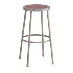 National Public Seating - Science Lab Stool w Hardboard Seat - With a great price and a classic design, this seat will hit big on your friends and family and light on your wallet.  Sturdily constructed from quality steel, this stool is perfect for seating around a kitchen bar or for whatever other seating need you can think of.  When you need heavy duty, these backless stools in a range of different heights are perfect.  These steel stool come with masonite seats and will look good no matter where they are placed.  This 30 inch Work Stool with Masonite Seat and Steel Frame is ideal for any workplace environment. * Plastic guides. 14 in. Dia. seat with 11.5 in. Dia. masonite board recessed into pan and will not chip or crack. 0.63 in. O.D. foot rings are welded to each leg. Four contact points at each leg for added rigidity. Steel contains 30-40% of post-consumer waste (recycled). Meets ANSI and BIFMA standards. Warranty: Five years for material. Made from 0.88 in. O.D. 18-gauge steel tubing. 14 in. L x 16.5 in. W x 30 in. H (10 lbs.)