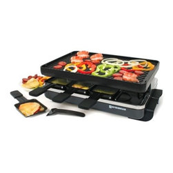 "Swissmar - Swissmar Classic 8 Person Raclette w/ Reversible Cast Iron Grill - 8-Heat Resistant Spatulas Beautiful black body Reversible cast iron grill top. The reversible, enameled cast iron grill / crepe top is excellent for grilling meats and veggies, and is perfect for grilling sandwi, eggs, bacon, pancakes, and dessert cre""pes.Variable heat control 8 Raclette dishes included Variable temperature control 1200 Watts 1-Year warrantyNote: do not use cooking spray on grill top surface or on raclette dishes."