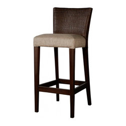 NPD (New Pacific Direct) Furniture - Venice Barstool by NPD Furniture, Tobacco, Bar Height - Beautifully crafted, the Venice barstool exudes natural elegance. The legs are crafted from solid mahogany wood, and the back consists of woven rattan and fabric seat.