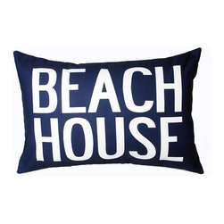 "Uptown Artworks - Beach House Pillow - Features: -Material: Natural cotton / linen. -We recommend spot-cleaning or wash in cool water with phosphate-free detergent. -Zipper closure, plush feather and down insert. -Made in the United States. -Eco-friendly. -Overall dimensions: 14"" H x 20"" W, 2 lbs."