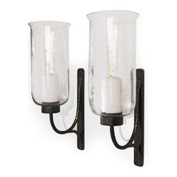 Kathy Kuo Home - Pescara Contemporary Rustic Iron and Glass Candle Sconces - There's nothing like candlelight to set a mood, and these generously proportioned Pescara wall sconces illustrate this to beautiful effect. The simple, functional elements at play make them at home in a variety of environments from Italianate to Industrial Modern and beyond.