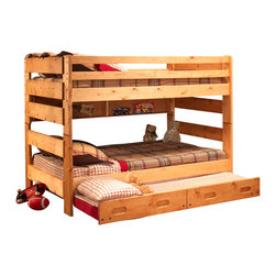 Chelsea Home Furniture - Chelsea Home Full Over Full Bunk Bed with Trundle Unit in Cinnamon - Providing home elegance in upholstery products such as recliners, stationary upholstery, leather, and accent furniture including chairs, chaises, and benches is the most important part of Chelsea Home Furniture's operations. Bringing high quality, classic and traditional designs that remain fresh for generations to customers' homes is no burden, but a love for hospitality and home beauty. The majority of Chelsea Home Furniture's products are made in the USA, while all are sought after throughout the industry and will remain a staple in home furnishings.
