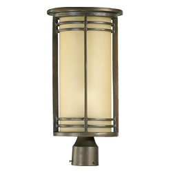 Quorum Lighting - Quorum Lighting Larson Transitional Outdoor Post Lantern Light X-68-9-8197 - Band detailing and a cylindrical shape give a more fluid look to this Quorum Lighting outdoor post lantern. From the Larson Collection, this elegant post light comes finished in a rich Oiled Bronze hue that highlights the fluidity of the lines. For added appeal, a warm toned amber scavo glass shade in a modern cylindrical shape has been used.