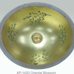 "Full Gold & Platinum Decorations - ""Oriental Blossom"" Painted on AP-1420 white Monaco Medium undermount sink 17""x14"". Also available on burnished platinum background."