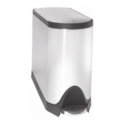 """simplehuman - Butterfly Trash Can - Does your trash can tend to get in your way? The Simplehuman award-winning butterfly step can has a narrow footprint to fit in tight spaces and a steel lid that opens from the center like a butterfly for maximum clearance under low counter tops.The ease of the step can makes throwing your trash away hassle-free. Features: -Brushed stainless steel. -Lock back lid for ease during longer chores. -Split open doors. -Nonskid base prevents trash can from tipping. -Invisible hinge allows can to fit flush against walls. -Rotary damper to a quiet closing lid. -10 year limited warranty. Dimensions: -25.9"""" H x 17.6"""" W x 10.4"""" D, 30.5"""" H with lid open, 24.2 lbs."""