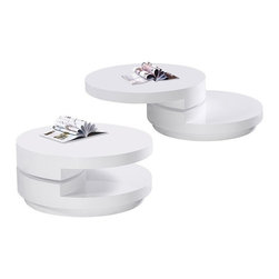 Modern Round White Swivel Coffee Table Anza - Features: