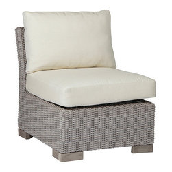 Frontgate - Club Woven Slipper Chair with Cushions, Patio Furniture - Ideal for any environment, including oceanfront and saltwater destinations. High-quality; resin wicker provides superior UV resistance and is formulated for a realistic look and feel. Offered in Oyster or French Linen finish. U clips slide over the top edge of each seat frame to secure attachment. Cushions feature exclusive Sunbrella® fabrics, the finest solution-dyed, all-weather material available. The Club Woven Slipper Chair by Summer Classics features elemental styling with items that can mix with other collections or combine together to create an inviting outdoor room. Durable wrought aluminum frames are hand woven with high-quality; all weather resin wicker, providing high UV resistance and an authentic look and feel. These innovative materials, blended with Club Woven's classic style, offer the perfect outdoor retreat for any open-air setting, including beach and salt water environments. . . . . Cushions feature exclusive Sunbrella fabrics, the finest solution-dyed, all-weather material available. Note: Due to the custom-made nature of the cushions, any fabric changes or cancellations made to the Club Woven Collection by Summer Classics must be made within 24 hours of ordering.