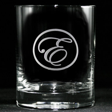Engraved Personalized Whiskey, Scotch, Bourbon Glasses - Personalized custom whiskey, scotch and bourbon glasses are the perfect gift for bridal shower, engagement, wedding, birthday and for the man or woman who has everything. Real estate agents and interior designers often give our personalized barware to special clients as housewarming or thank you gifts. Not engraved, but deeply sand carved, each of our glasses is hand crafted. The background is carved away, leaving the monogram and design raised from the glass in a 3D manner. Simply exquisite. Crystal Imagery