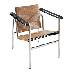 """LexMod - Charles Pony Hide Lounge Chair in Brown and White - Charles Pony Hide Lounge Chair in Brown and White - Charles inspired campaign chair, imposing, serious about comfort. Add some poise and position to your room with this intimidatingly excellent piece. Set Includes: One - Le Corbusier LC1 in Pony Hide Classic tubular steel design, Polished stainless steel frame, Taut leatherette slings, Rubber floor stoppers for support, Fully assembled Overall Product Dimensions: 23.5""""L x 25""""W x 25.5""""H Seat Height: 15.5""""H Armrest Height: 24.5""""H - Mid Century Modern Furniture."""