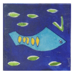 """Potteryville - Tiles 4X4""""Inch, Turquoise And Yellow Fish And Blue Base Base - Turquoise and Yellow Fish and Blue Base base Tiles from Jaipur, India. Unique, hand painted tiles for your kitchen or other tiling project. Tile is 4x4"""" in size."""