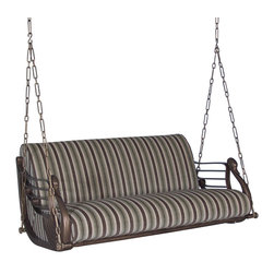 """GILANI - Swan Swing - Swan Swing. Style no: SE89551. 60""""w x 38""""d x 32""""h. Material: Metal. Finish: As specified. Seat Cushion: 8-way hand-tied springs. Fabric: COM. Note: Fabric sleeves are available for the chains. Custom sizing available. Designed by Shah Gilani, ASFD."""