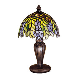 """Meyda Tiffany - 13""""H Tiffany Honey Locust Mini Lamp - The Honey Locust was popular floral design created by Louis Comfort Tiffany, more than a century ago. Decorative dome-shaped stained glass lampshades, with petal shaped edges depict clusters of Plum and Periwinkle flowers amid Spring Green leaves cascading towards the base. This mini lamp has a complementary decorative base featuring our Mahogany Bronze finish."""