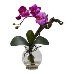 Nearly Natural - Mini Phalaenopsis with Fluted Vase Silk Flower Arrangement - Some flowers offer a look that seems... otherworldly, really. The beauty and symmetry are THAT perfect. This mini Phal is one such offering. With lush greenery, twisting stem, and a bloom that gently cascades, this is a piece that will command attention, no matter where you display it. Comes complete with a beautiful fluted bowl w/ faux water.