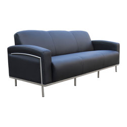 "Boss - Black Caressoftplus Sofa With Chrome Frame - Contemporary European design. Polished stainless steel frame. Upholstered with ultra soft, durable and breathable Black CaressoftPlus.; Fabric Type: Caressoft; Cushion Color: Black; Frame Color, Base Color, or Wood Finish: Polished Steel; Weight Capacity: 750 lbs; Seat Size: 71""W X 20"" D; Seat Height: 18""H; Arm Height: 24.5""H; Overall Size: 81.5""W X 32"" L X 31.5""H"