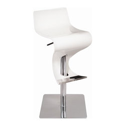 Lumisource - Viva Bent Wood Bar Stool - Hydraulic pole allows for maximum comfort. Chrome base. Made from wood. White color. Assembly required. Seat height: 24 to 31 in.. Overall: 16 in. W x 16 in. D x 32 to 39 in. H (50 lbs.)Add movement and swing to any room. The adjust the seat using height lever.