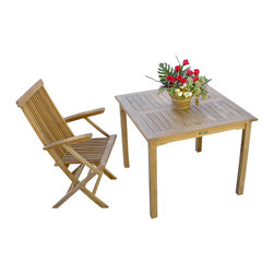 "Anderson Teak - Bahama 35"" Square Table - This bistro table is perfect for restaurant, cafe or place where space is limited. Table can be used with any mix and match chairs. It seats two to four people. Chairs and flower are not included."