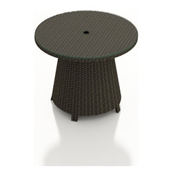Forever Patio - Hampton Radius Wicker High Coffee Table, Chocolate Wicker - The Forever Patio Hampton Radius Wicker Outdoor High Coffee Table (SKU FP-HAMR-HCT-CH) provides an easy-to-reach surface for food and drink while relaxing on the Hampton collection's curved seating. The UV-protected, chocolate-colored wicker sports a flat woven design, creating a contemporary look with clean lines. Each strand of this outdoor wicker is made from High-Density Polyethylene (HDPE) and is infused with its rich color and UV-inhibitors that prevent cracking, chipping and fading ordinarily caused by sunlight. This modern patio coffee table is supported by thick-gauged, powder-coated aluminum frames that make it more durable than natural rattan. A tempered glass top is included with this table, adding a touch of modern style to your outdoor dining table.