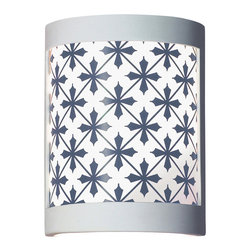A19 - Somerset Wall Sconce - Inspired by formal English country estates, the Somerset sconce has an all-over pattern of diamonds intersected by crosses. Perfect for an understated or traditional environment. The image is reverse-painted on a translucent white film and framed in ceramic. The effect is refreshing yet dramatic. The frame is also available in a number of colors and faux finishes ranging from rustic metals to rich glossy glaze.