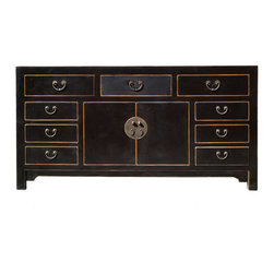 Golden Lotus - Chinese Solid Elm Wood Moon Face Black Buffet Table Console Cabinet - You are looking at a simple but elegant designed Chinese black lacquer buffet table. This buffet table comes with very nice Chinese moon face design hard ware. It can also be used as a console cabinet.