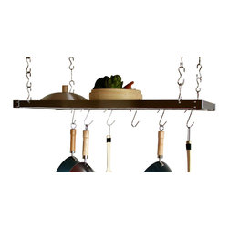 Taylor and Ng - Track Rectangular Ceiling Pot Rack in Chrome - Optional eight hanging links and six s-hooks. Hanging. Made from steel. Rectangular shape. Chrome color. Distance from ceiling: 22 in.. S-hook: 2 in. L x 0.19 in. W x 3.75 in. H (0.36 lbs.). Hanging link: 1.13 in. L x 0.19 in. W x 3 in. H (0.38 lbs.). Pot rack: 35.50 in. L x 17.75 in. W x 1.50 in. H (13.40 lbs.). Includes mounting hardware, instructions booklet, thirty two hanging links, center grid, four ceiling mounting, twelve S and four eye hooks. Assembly required. Eye hooks mounts directly to ceiling wood joistThis ceiling mounted Rectangular Track Rack was designed to create versatility for unlimited uses. Hanging Links to adjust height of the preassembled ceiling potrack.