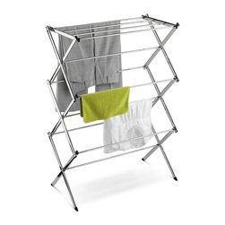 "Honey Can Do - Commercial Chrome Accordion Drying Rack 24 Li - 24' of drying space fully assembled. Heavy-duty chrome frame- sturdy and rust-resistant. Angled leg caps- maximum stability. Folds to 3"" flat- space saving storage. 24 feet of drying space"
