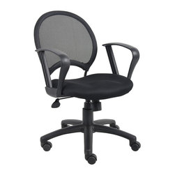 """BOSS Chair - Mesh Back Desk Chair In Black w Loop Arms, Se - Custom crafted for uncompromising value and performance, this office chair is simply a step above the rest. It has loop, padded armrests, mesh back for added comfort, black upholstered seat and pneumatic seat height adjustment. Dual wheel casters add excellent mobility. Open mesh back designed to offer back support. Solid metal back frame. Breathable mesh fabric seat with ample padding. Loop arms. 25"""" nylon base. Adjustable tilt tension control. Hooded double wheel casters. Upright locking position. Pneumatic gas lift seat height adjustment. Cushion color: Black. Base/wood: Black. Seat size: 18 in. W x 19.5 in. D. Seat height: 18.5 in. -22.5 in. H. Arm height: 28.5-33.5 in. H. Overall dimension: 25 in. W x 25 in. D x 34.5-38.5 in. H. Weight capacity: 250 lbs"""
