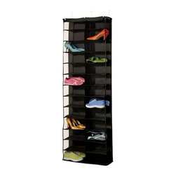 Richards Homewares - Overdoor Shoe Organizer, 26-Pocket - Our Over the Door shoe organizer holds 26 pairs of women's shoes or 13 pairs of men's shoes. Side opening pockets to easily slip shoes in. Mounts over the door with 4 hooks. A great solution for apartments, dorm rooms or small spaces.