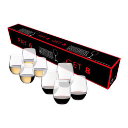 "Riedel - Riedel O Vinum Cabernet Sauvignon/Merlot/Bordeaux and ""O"" Viognier/Chardonnay Bu - ""O"" Cabernet - Viognier Buy 8 Pay 6 stemless wine tumblers - SAVE 25%. The Riedel ""O"" Buy 8 PAY 6 features four Cabernet/Merlot glasses and four Viognier/Chardonnay glasses-the two most popular varietals in the wine universe. If you're a red wine only person, Riedel offers ""O"" Buy 8 Pay 6 in all Cabernet/Merlot. For Chardonnay devotees, there is ""O"" Buy 8 Pay 6 in all Viognier/Chardonnay. So there's no excuse for that mismatched, motley collection of glassware you're hiding behind that cupboard door. Do a little spring cleaning and add a simple, yet stylish touch to your table with Riedel ""O""."