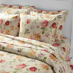 Garnet Hill - Garnet Hill Signature Grandstand Flannel Comforter Cover - Double/Queen - Oatmea - Our vivid vintage floral blooms on an unbleached, undyed oatmeal-hued ground of our cozy German cotton flannel bedding crafted with a tighter weave than most flannels. These sheets are gently brushed multiple times on both sides for the softest finish. Pillowcases have a classic envelope closure. Fitted sheet is fully elasticized for a better fit.