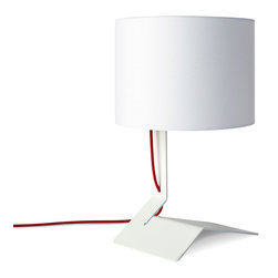 "Blu Dot - Blu Dot Bender Table Lamp, White - Steel and cloth meet with seductive results.  Available in black or white.Powder-coated steel , 80"" cloth-covered cord, Cloth-covered shade, ulb Maximum 100 watt incandescent or 23 watt CFL, one CFL included"
