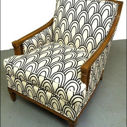 Vintage Chair with Art Deco inspired fabric - This bold black and white art deco fabric is EXACTLY what this chair needed.