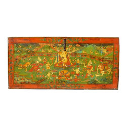 Golden Lotus - Old Restored Tibetan Teaching Scenery Wooden Trunk Table - This is an old wooden trunk with detail scenery of Tibetan lama teaching Buddhism with people gathering around, animals grouping together, trees growing blossom. It symbolizes the lecture of teacher is welcoming and blessing.