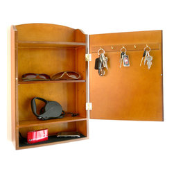 Proman Products - Door Entry Organizer - Door entry organizer with mail sorter and key holder compartment. Wood veneer in dark walnut finish