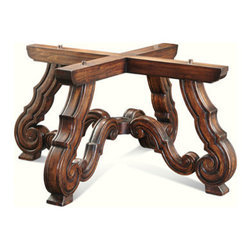 Ambella Home - Marseilles Gathering Table - Base Only - Solid oak gathering table base with scrolled legs and a mahogany finish.  W012. Dimensions: 42 in. x 42 in. x 34 in.