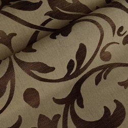 Pontevechio Upholstery in Sable - Pontevechio Upholstery Fabric in Sable - an Italian Jacquard tan and brown floral upholstery fabric with a touch of sheen. The scrolling leaf botanical pattern in a linen and cotton blend would enhance any design project.