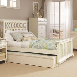 Myhome - Myhome Emily Collection Panel Bed with Trundle - Khaki White - MYHO055 - Shop for Beds from Hayneedle.com! Cozy French country styling comes fully up to date with the Myhome Emily Collection Panel Bed with Trundle - Khaki White. Rich with details this wooden bed in a khaki white finish features turned feet artful mouldings and curving rails on the headboard. When you add a spare mattress the pull-out trundle can accommodate an overnight guest. Without a mattress the trundle amounts to concealed underbed storage which can also be essential for your lifestyle.Dimensions:Twin: 40.5W x 80L x 53H in.Full: 56W x 80L x 53H in.Queen: 62W x 86L x 53H in.About My Home FurnishingsMy Home Furnishings became a reality in June 2013 when three investors in a truly American way pooled their resources and ventured overseas to design develop and import youth and second bedroom furniture for the American consumer. Our focus is to use 100% U.S. designed product combined with the expertise and abilities of quality factories to bring to the American consumer the best value possible in the youth and second bedroom category in the United States. We offer top quality product and a value price with effective and efficient U.S. Management. It's our guarantee to you. Not only will you and your family see a difference but you won't be happier with another company. We have collectively over 95 years experience in the furniture industry and that's given us a chance to make sure that our quality and service is up to a standard that others just can't compete with. Which also means that it's a quality you'll not only see but you'll appreciate it.