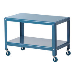 Ikea PS 2012 Coffee Table, Dark Turquoise - I like the idea of using this colored cart as a coffee table. The wheels make it easy to move around the room.