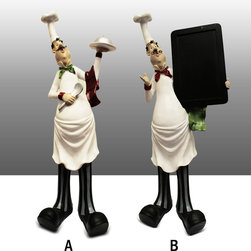 Tall Fat Chef Kitchen Statue Figure with Menu Board / Dish Complete Set - Beautiful Tall Fat Chef Figure / Kitchen Decor.