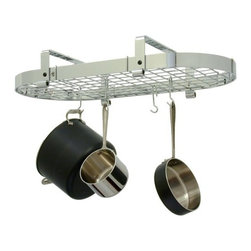 "Enclume - Enclume Low Ceiling Oval Pot Rack Chrome with Grid - Get all the storage capacity of our three foot oval in a rack that is only 8.5"" high. Designed for low ceilings or tall cooks. Mounts in-line or perpendicular to ceiling beams or joists. Mounts on 16"" Centers"
