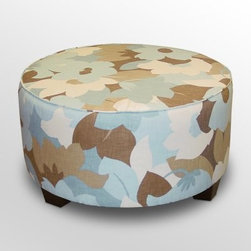 Skyline Round Cocktail Ottoman - Esprit Seaglass - The Skyline Round Cocktail Ottoman – Esprit Seaglass is a fun update to a household standard. This comfy ottoman is sure to grab the attention of all your houseguests who will be eager to use it as a seat, tabletop, or footrest. A versatile piece for any setting, this round ottoman features beautiful Esprit Seaglass upholstery and a sturdy wood frame handcrafted in the USA.About Skyline Furniture Manufacturing Inc.Skyline Furniture was founded in 1948 with the goal of producing stylish, affordable, quality furniture for the home. After more than 50 years, this family-run business is still designing and manufacturing unique products that meet the ever-changing demands of the modern home furnishing industry. Located in the south suburbs of Chicago, the company produces a wide variety of innovative products for the home, including chairs, headboards, benches, and coffee tables.