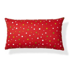 5 Surry Lane - Red Green Mod Dot Lumbar Pillow - Twinkling like so many stars in the sky, a smattering of polka dots give this red lumbar pillow a festive touch. Filled with soft, fluffy down, it will add a huge dose of coziness to your home. Whether you settle in for a long winter's nap or just an occasional cat nap, you'll love snuggling up with this cheerful accent pillow.