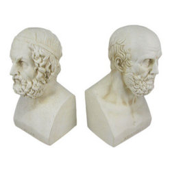 Aristotle And Homer Bust Bookends Greek Philosophy - Homer`s epic poems & Aristotle`s teachings have been among the most influential in the history of western civilization. Made of cold cast resin, this stunning pair of bookends doesn`t just hold your books up, but adds a touch of style to your room. Featuring highly detailed busts of Homer and Aristotle, each of the bookends is 8 inches tall, 4 inches wide and 4 inches deep. They look great on bookshelves and on top of desks or tables.