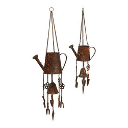 Watering Can Wind Chimes - Set of 2 - *With a faux rust finish, the watering can wind chimes add a peaceful sound to any outdoor area.