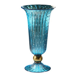 """Inviting Home - Venetian Glass Vase (aqua and gold) - Hand-blown aqua and gold round flooted Venetian glass vase with bubbled pattern 10-3/4"""" x 19-1/4""""H Made in Murano Italy Hand-blown aqua and gold round fluted Venetian glass vase with bubbled pattern. Made in Murano Italy."""