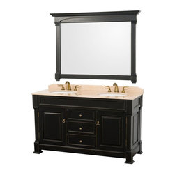 Wyndham Collection - 60 in. Double Vanity Set - Includes matching mirror, natural stone counter and backsplash with porcelain sinks. Faucet not included. Beautiful transitional styling. White under mount sink. Ivory marble top. Floor-standing linen tower. Hand carved and stained cabinet. Mirror glass thickness: 1 in.. 8 in. widespread three hole faucet mount. Plenty of storage space. Engineered to prevent warping and last a lifetime. Highly water-resistant low V.O.C. finish. Twelve stage wood preparation, sanding, painting and hand-finishing process. Fully extending side-mount drawer slides. Concealed door hinges. Two doors and three deep doweled drawers. Metal hardware with antique bronze finish. Warranty: Two years. Made from environmentally friendly, zero emissions solid oak hardwood. Antique black finish. Vanity: 60 in. W x 23 in. D x 35 in. H. Mirror: 55 in. L x 41 in. H (65 lbs.). Cabinet weight: 192 lbs.. Counter weight: 97 lbs.. Sink weight: 13 lbs.. Care InstructionsA new edition to the Wyndham Collection, the beautiful Andover bathroom series represents an updated take on traditional styling. The Andover is a keystone piece, with strong, classic lines and an attention to detail.