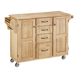 HomeStyles - Wooden Kitchen Cart in Natural Finish - This large, natural finish utility cart provides just the extra space you need in your kitchen!  With four easy open drawers, two large cabinets and outdoor compartments, this piece features a solid wood top and adequate storage. * Four easy open utility drawers. Two cabinet doors open to storage with adjustable shelf inside. Handy spice rack with towel bar. Paper towel holder. Heavy duty locking rubber casters for easy mobility and safety. Made from Asian hardwood. Made in Thailand. 48 in. L x 17.75 in. W x 35.5 in. H. Cart Assembly Instruction. Top Assembly InstructionHome Styles' Create-a-Cart is a unique and refreshing solution for kitchen utility.