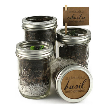 Makers Kit - Mason Herb Garden Kit - Our half pint Mason Jar Herb Garden, our most popular herb garden kit, is perfect if you love fresh herbs but lack a green thumb.