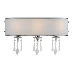 Golden Lighting - Echelon 3-Light Vanity - This stylish fixture for your bathroom features a crisp shade with pearl-shaped accents on the sides. Hanging from the fixture bases are eye- and light-catching glass adornments.